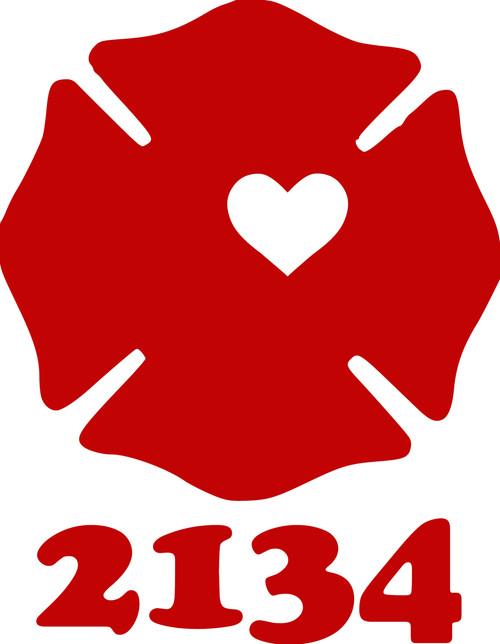 "Firefighter Maltese Cross with Text Badge Heart Fireman Wife Vinyl Decal Sticker - 5"" x 4"""