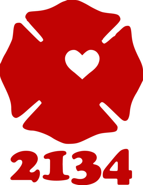 "Firefighter Maltese Cross with Text Badge Heart Fireman Wife Vinyl Decal Sticker - 5"" x 4"""