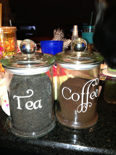 Set of 4 Kitchen Canister Labels - Vinyl Stickers - Flour Coffee Tea Sugar - Die Cut Decals - Swash