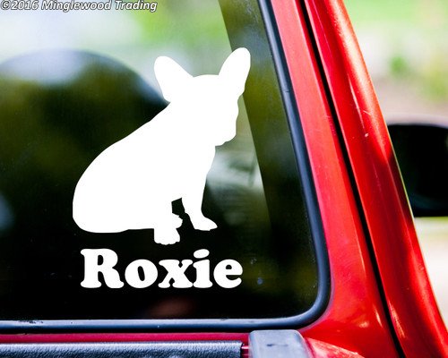 "French Bulldog Sitting Dog Vinyl Decal Sticker w/ Custom Personalized Name 6.5"" x 4.5"""