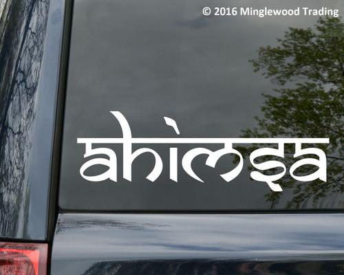 "Ahimsa vinyl decal sticker 11"" x 3.5"" Peace Love Compassion Vegan"