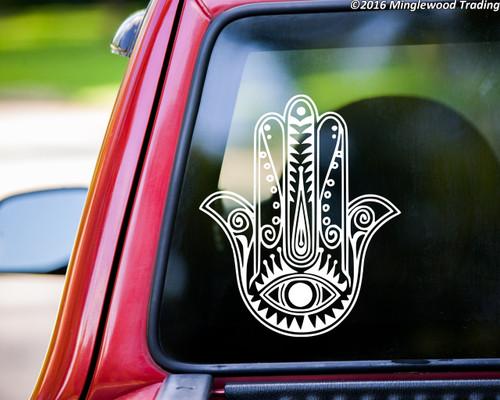 "Hamsa Hand vinyl decal sticker 11"" x 9"" Hamesh Eye of Fatima"