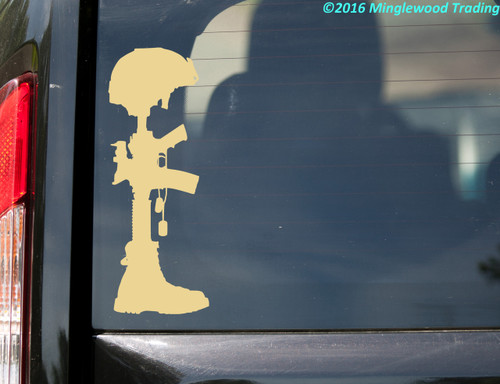Fallen Soldier Battle Cross Vinyl Sticker - Battlefield Honor - Die Cut Decal