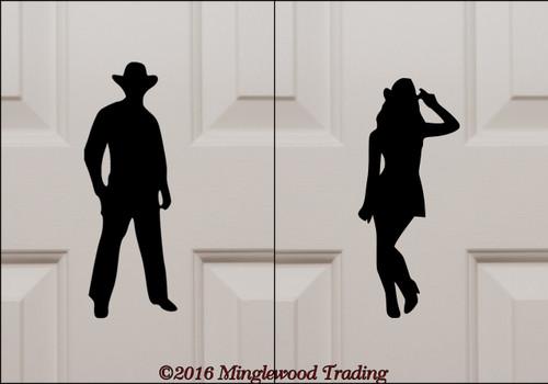 "Cowboy & Cowgirl Bathroom Door Set custom vinyl decal stickers 9"" tall Western Restroom Signs"