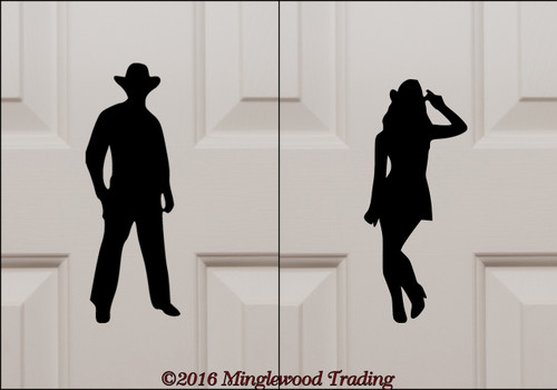 "Cowboy & Cowgirl Bathroom Door Set custom vinyl decal stickers 5.5"" tall Western Restroom Signs"