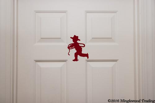 "Little Cowboy & Cowgirl bathroom Door Set custom vinyl decal stickers 7.5"" x 5"" Boys Girls Restroom"