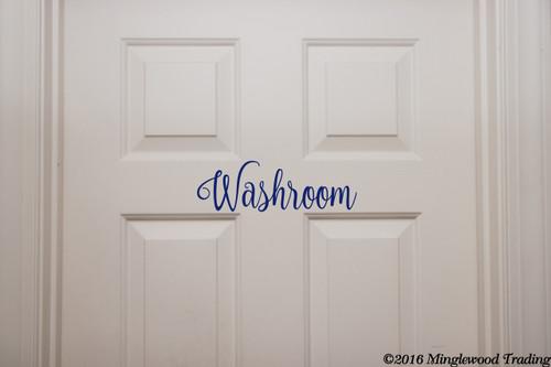 "Washroom custom vinyl decal sticker 11"" x 3.5"" Bathroom Door Restroom Loo Toilet Water Closet"