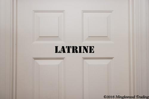 """Latrine custom vinyl decal sticker 11.5"""" x 2"""" Restroom Bathroom Toilet Door Sign"""