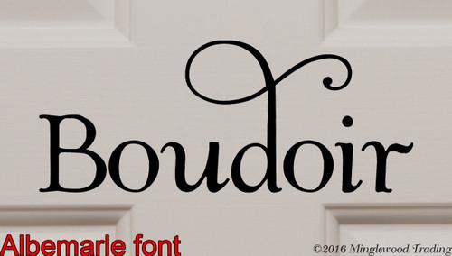 "Boudoir custom vinyl decal sticker 8.5"" x 3.5"" wide Bedroom Sitting Room Salon"