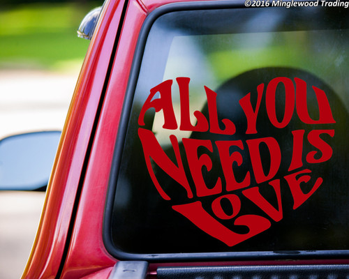 "All You Need is Love  vinyl decal sticker 11"" x 9"" Beatles Inspired Heart Quote"