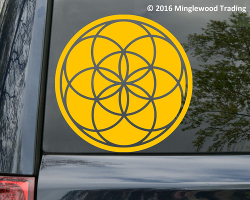 "Seed of Life vinyl decal sticker 10"" x 10"" Geometric Flower Kaballah"