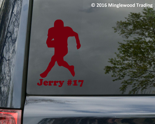 "Football Player V2 vinyl decal sticker with Personalized Name 6"" x 3.5"" Wide Receiver"