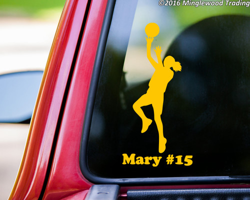 """Girl Basketball Player vinyl decal sticker with Personalized Name 7.5"""" x 2.5"""" Female Womens"""