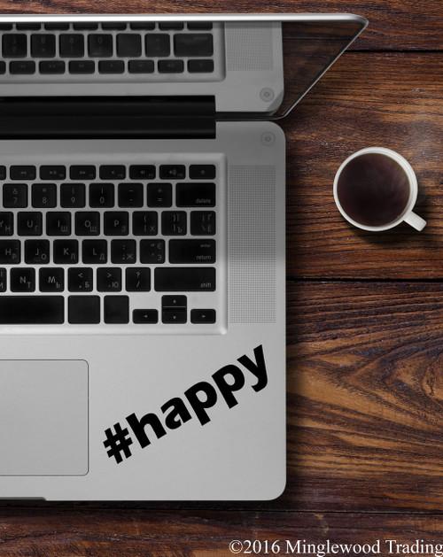 """#happy Happy Hashtag vinyl decal sticker 5"""" x 1.25"""""""