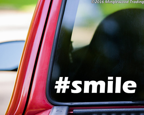 "#smile Smile Hashtag vinyl decal sticker 5"" x 1.25"""