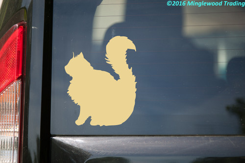 SITTING CAT Vinyl Sticker - Feline Longthair Lond-Hair DLH Kitten - Die Cut Decal