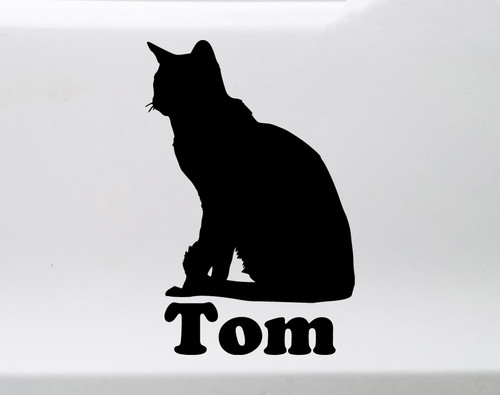 Cat with Personalized Name Vinyl Decal - Short Haired Sitting DSH Kitten - Die Cut Sticker