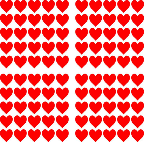 """Hearts - 100 1"""" Heart shaped vinyl decal stickers"""