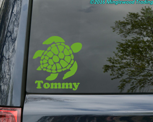 SEA TURTLE with Personalized Name Vinyl Sticker - Die Cut Decal