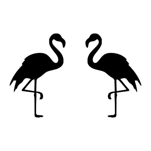 Flamingo Fancy Monogram Decal