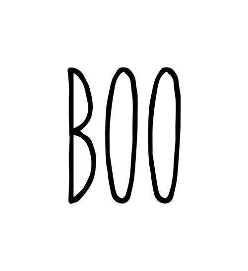 Boo Vinyl Sticker Halloween Farmhouse Skinny Font Rae Dunn Inspired Die Cut Decal