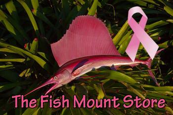 LIMITED EDITION PINK Sailfish 36 inch half mount fiberglass fish replica