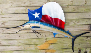 Texas Flag Sailfish 57L inch CUSTOM half mount fiberglass fish replica
