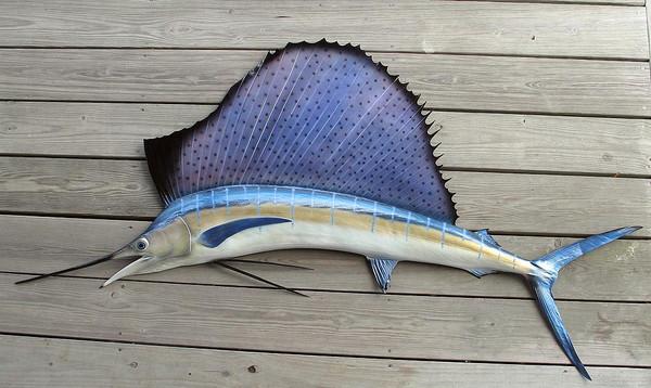 Sailfish 77l Inch Half Mount Fiberglass Fish Replica The