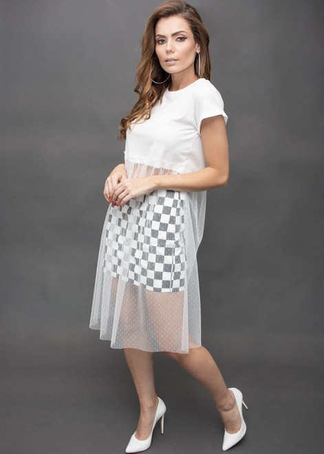 T-Shirt Dress with White Poa Lace