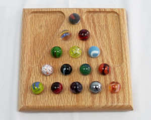 Small Marble Solitaire Game - Oak