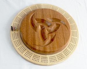 Four Player Cribbage Board Odin's Horn Mahogany and Curly Maple