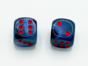 16mm d6 Gemini Black-Starlight Dice with Red pips