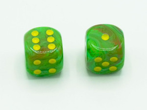 16mm d6 Vortex Slime Dice with Yellow pips