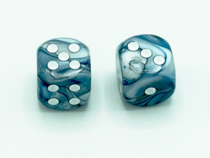 16mm d6 Lustrous Slate Dice with White pips