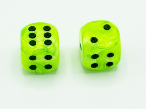16mm d6 Vortex Bright Green dice
