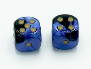 16mm d6 Gemini Black-Blue dice