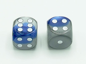 16mm d6 Gemini Blue-Steel dice