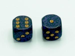 16mm d6 Speckled Golden Cobalt dice