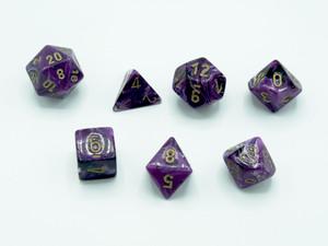 Polyhedral 7 die set - Vortex Purple
