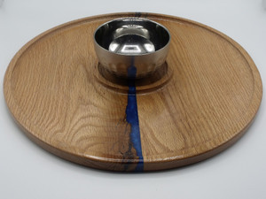 "16"" Serving Tray with Stainless Steel Bowl #1 in oak with blue epoxy"