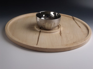 "16"" Serving Tray with Stainless Steel Bowl #2"