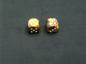 16mm d6 Lustrous Gold Dice with Silver pips