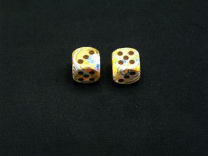 16mm d6 Festive Vibrant with Brown pips - pair of 2