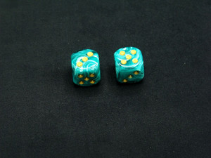16mm d6 Vortex Teal with Gold pips - pair of 2