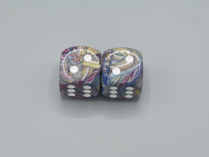 20mm Dice Festive Carousel Dice with White Pips - pair of 2