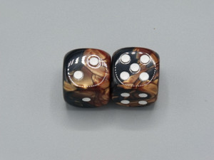 20mm Dice Gemini Black-Copper with White Pips - pair of 2