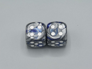20mm Dice Gemini Blue-Steel with White Pips - pair of 2