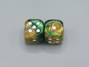 20mm Dice Gemini Gold-Green with White Pips - pair of 2