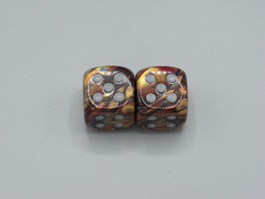 20mm Dice Lustrous Gold with Silver Pips - pair of 2