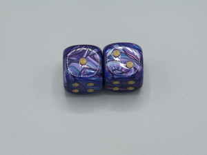 20mm Dice Lustrous Purple with Gold Pips - pair of 2